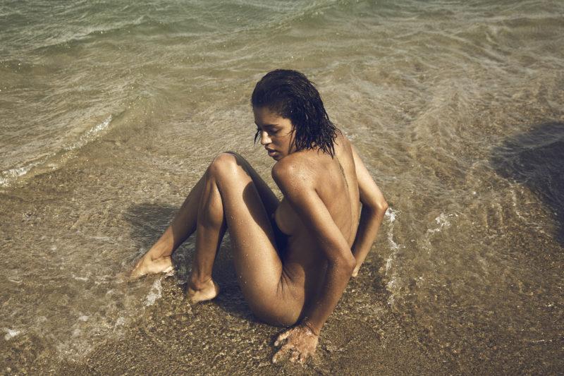 Girl naked on beach