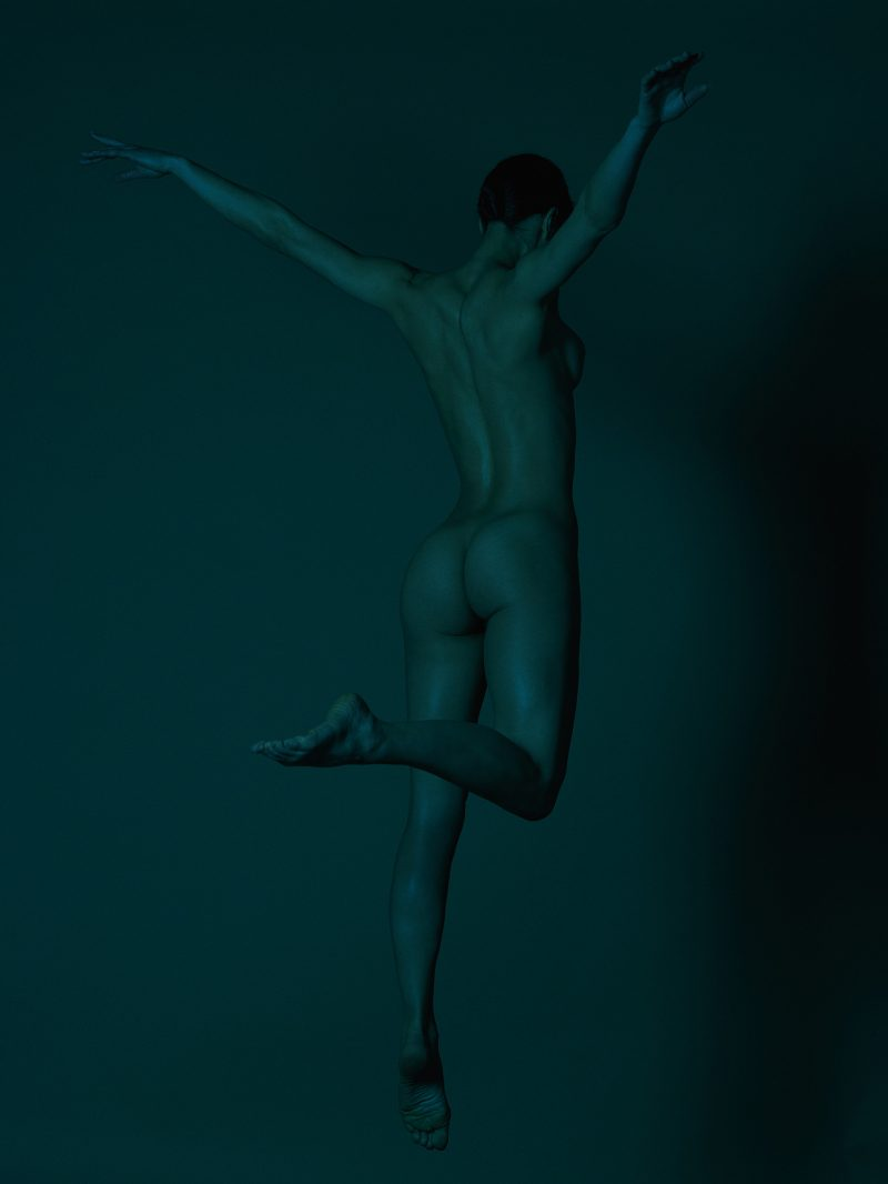 Naked girl from the back jumping by Stefan Rappo
