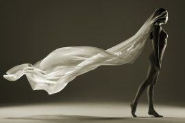 Thumbnail Naked girl with flying fabric on heat with Stefan Rappo