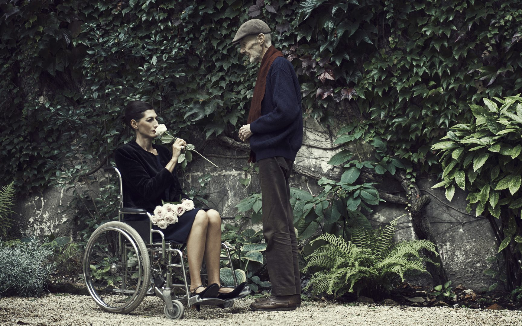man giving a rose to women in wheelchair by Stefan Rappo