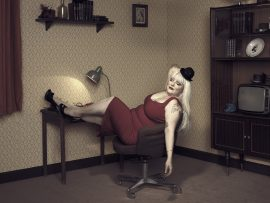 Thumbnail Woman in red dress sitting on chair in room 42 by Stefan Rappo