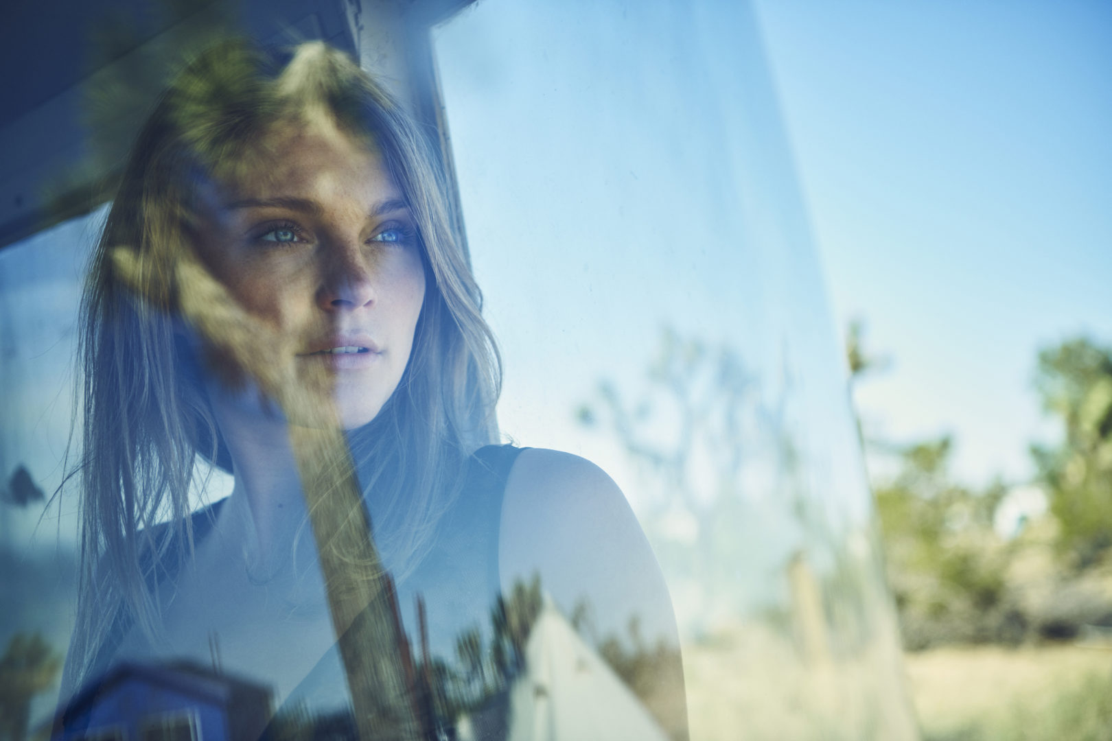 portrait of girl in trailer
