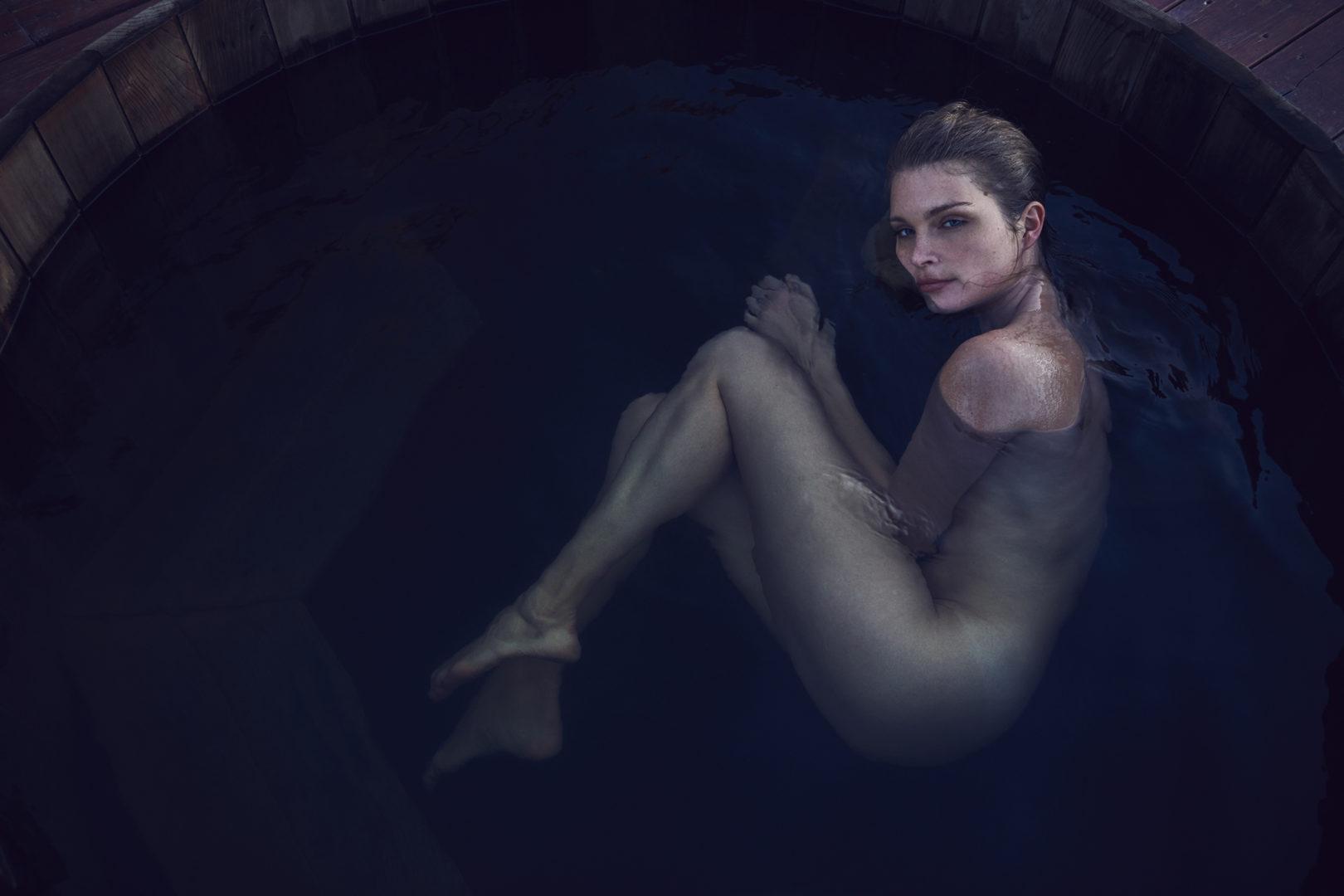 girl taking bath