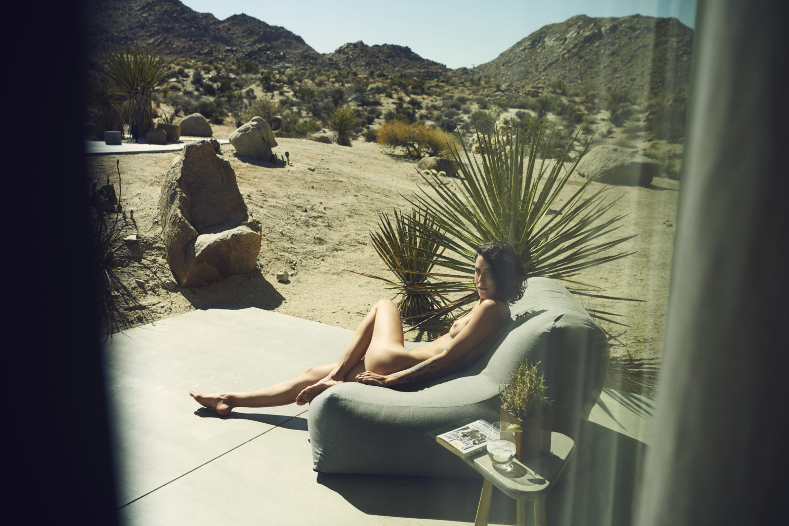 girl in desert house